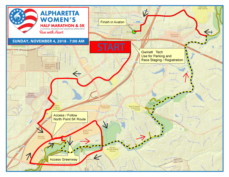 2018 Alpharetta Women's Half Marathon Course Final